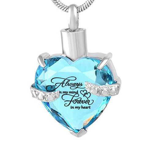 Always  In My Heart Turquoise Keepsake Urn Necklace
