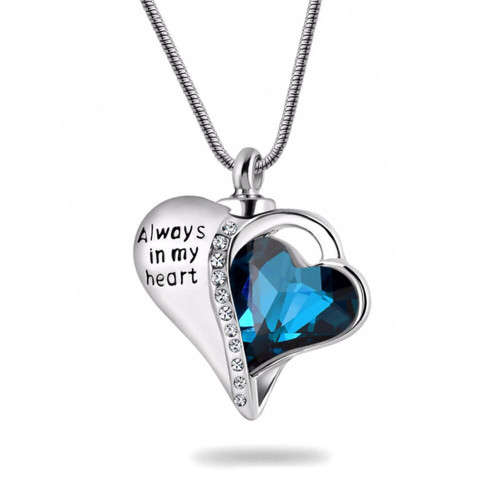 Always In My Heart Blue Heart Stone With Crystals Urn Necklace