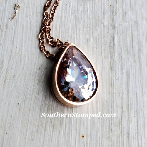 Rose Gold Tear Drop Crystal Necklace