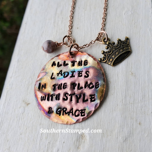 All The Ladies Fire Painted Necklace with Crown