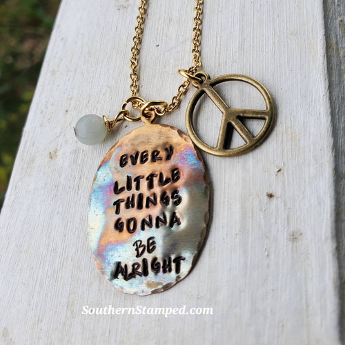 Every Little Thing Fire Painted Necklace with Peace Sign