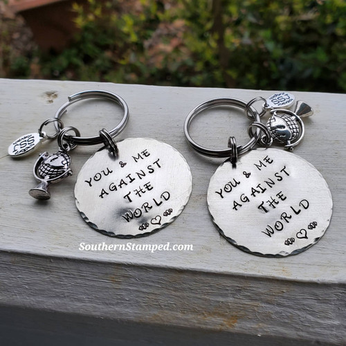You And Me Against The World Keychain Set