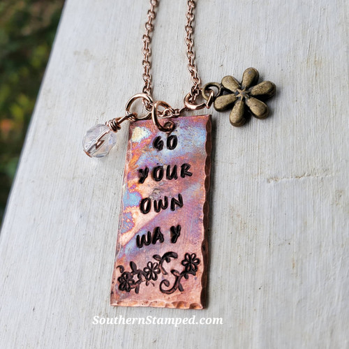 Go Your Own Way Fire Painted Necklace With Daisy