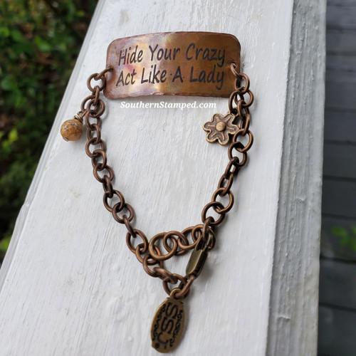 Hide Your Crazy Fire Painted Bracelet