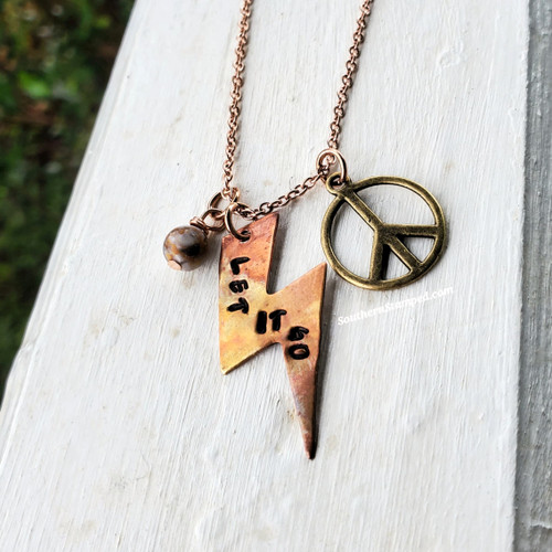 Let It Go Fire Painted Lightening Bolt Necklace