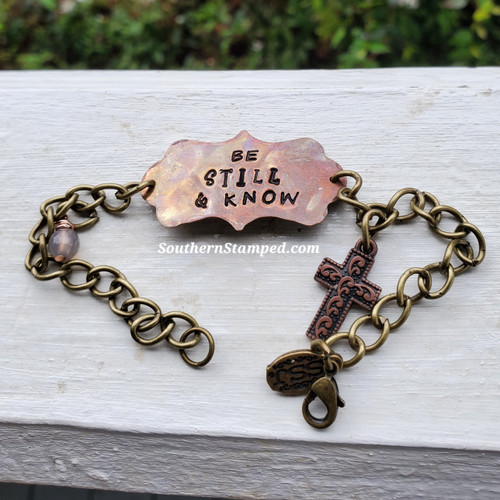 Be Still And Know Fire Painted Bracelet