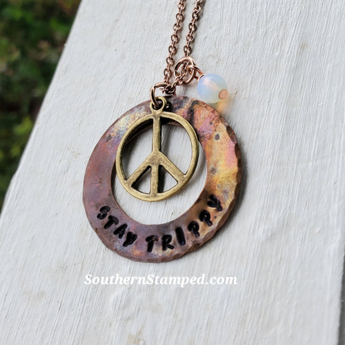 Stay Trippy Fire Painted Necklace