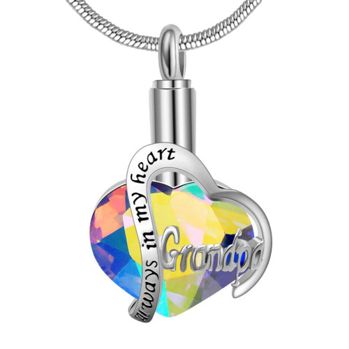 Always In My Heart Grandpa With Rainbow Stone Cremation Jewelry