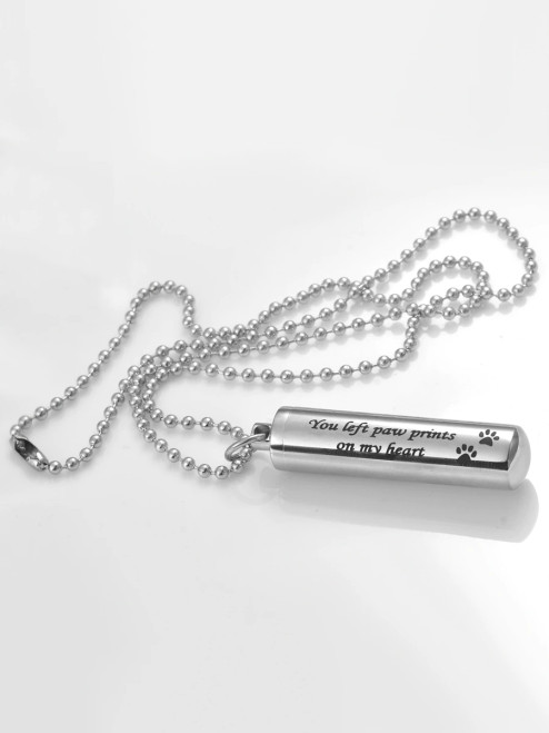 You Left Paw Prints On My Heart Cylinder Urn Necklace