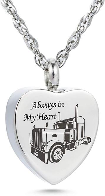 Trucker Always In My Heart Cremation Jewelry