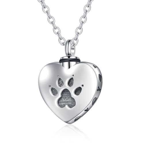 Sterling Silver Pet Paw Cremation Urn Jewelry