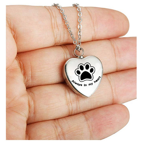 Always In My Heart Paw Print Heart Urn Jewelry