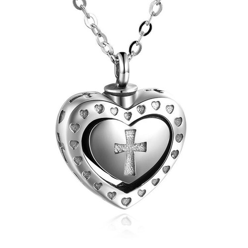 Sterling Silver Cross Cremation Urn Keepsake Necklace