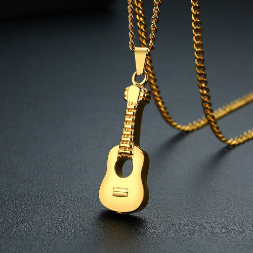 Gold Acoustic Guitar Shaped Memorial Urn Necklace