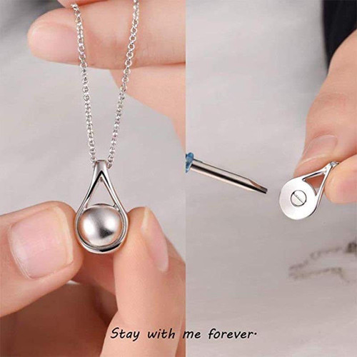 Sterling Silver Pearl Memorial Urn Necklace