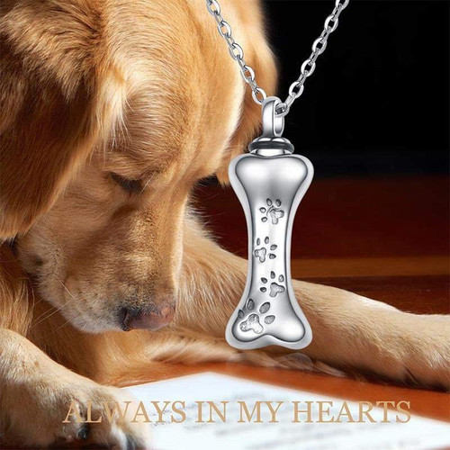 Sterling Silver Dog Bone with Paw Prints Keepsake Urn Necklace