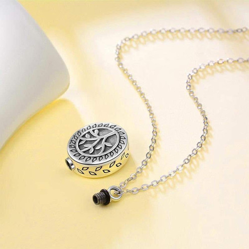 Sterling Silver Tree Of Life Engraved Keepsake Urn Necklace