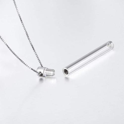 Sterling Silver Clear Stone Keepsake Urn Necklace