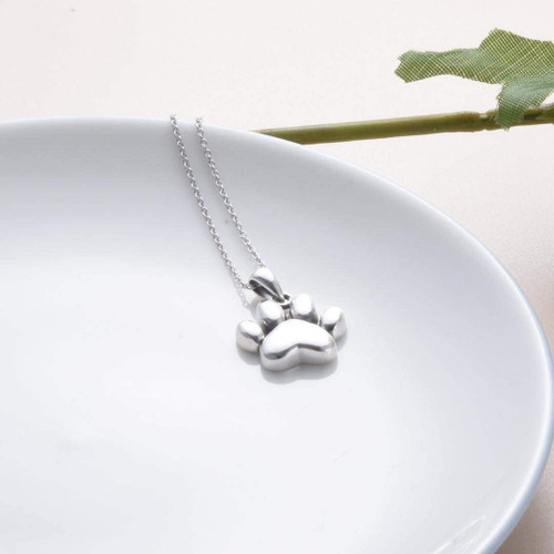 Sterling Silver Paw Print Cremation Urn Necklace