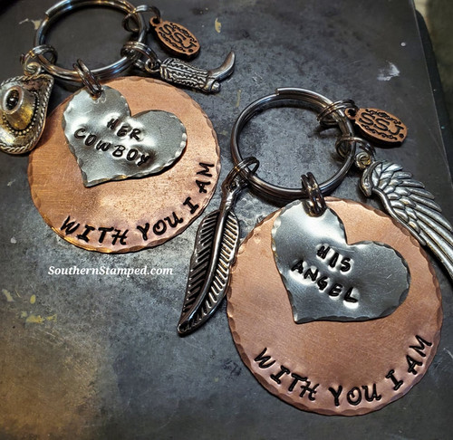 With you I am  His Cowboy, Her Angel Keychain Set