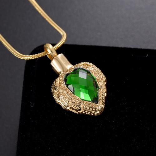 Dark Green Jewel Memorial Urn Necklace