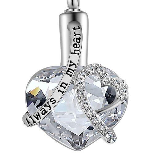 Always In My Heart Clear Stone Memorial Urn Necklace