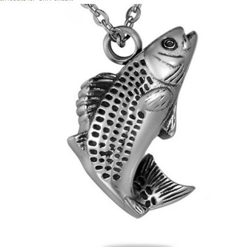 Bass Fish Cremation Urn Necklace