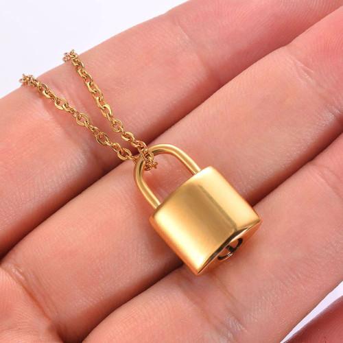 Gold Lock Cremation Urn Necklace