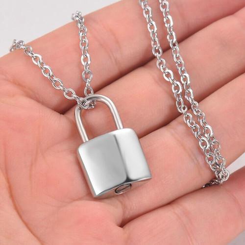 Silver Lock Memorial Urn Necklace
