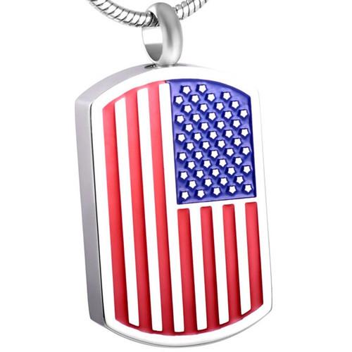 American Flag Dog Tag Memorial Urn