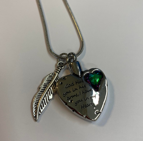 God Has You Heart With Mardi Gras Stone Cremation Urn Necklace