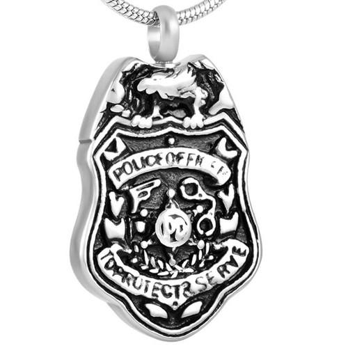 Police Badge Cremation Urn Necklace