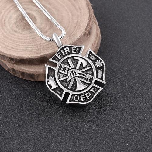 Fire Badge Cremation Urn Necklace
