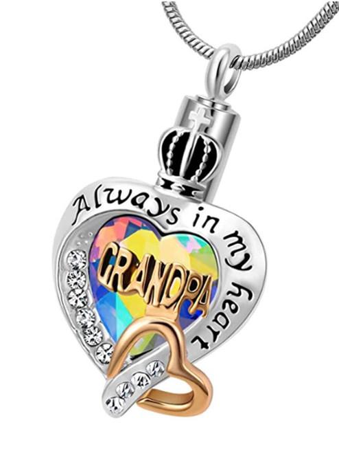 Always In My Heart Rainbow Heart Grandpa Cremation Urn Necklace
