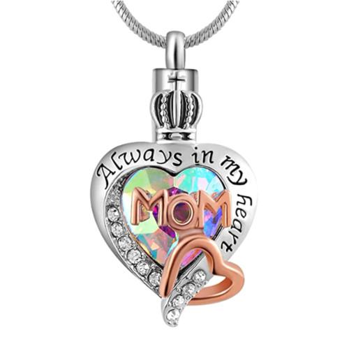 Always In My Heart Rainbow Heart Mom Cremation Urn Necklace