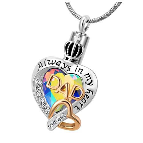 Always In My Heart Rainbow Heart Dad Cremation Urn Necklace