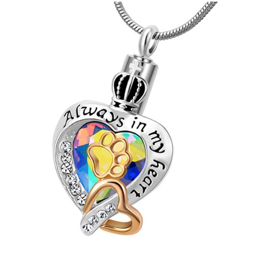 Always In My Heart Rainbow Heart Paw Print Cremation Urn Necklace