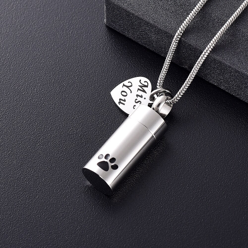 Paw Print Miss You Cremation Urn Necklace