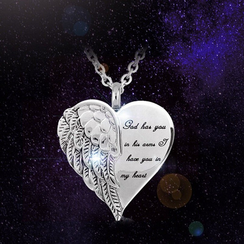 God Has You In His Arms Wing Wrapped Heart Cremation Urn Necklace