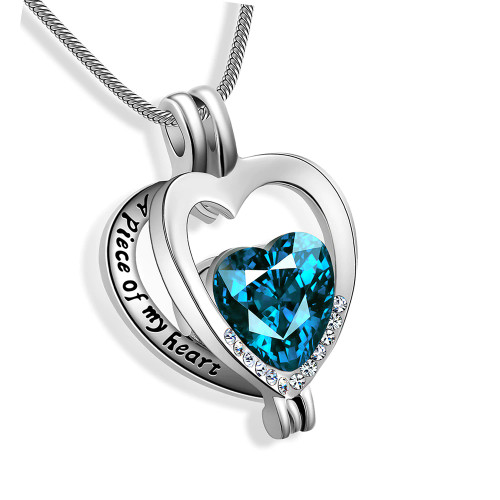 A Piece of My Heart Blue Urn Necklace