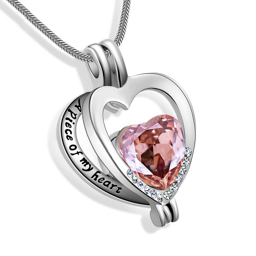 A Piece of My Heart Pink Urn Necklace