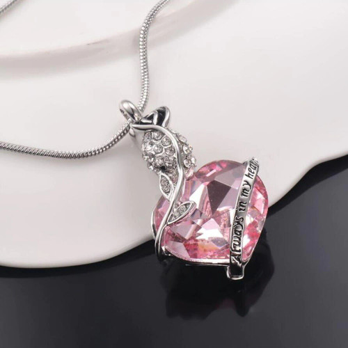 Always In My Heart Pink Rose Urn Necklace