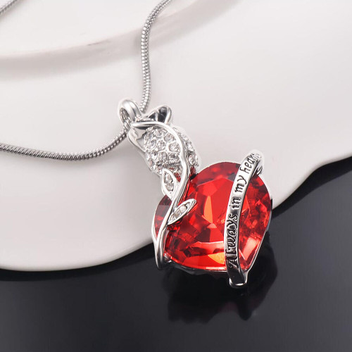 Always In My Heart Red Rose Urn Necklace