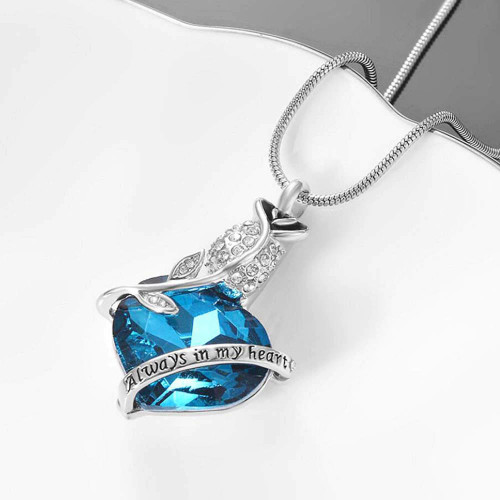 Always In My Heart Blue Rose Urn Necklace