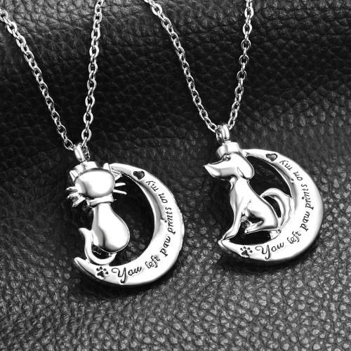 You Left Paw Prints On my Heart Urn Necklace
