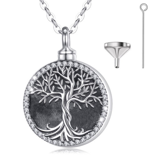 Sterling Silver Tree Of Life with Forever in my Heart Urn Necklace