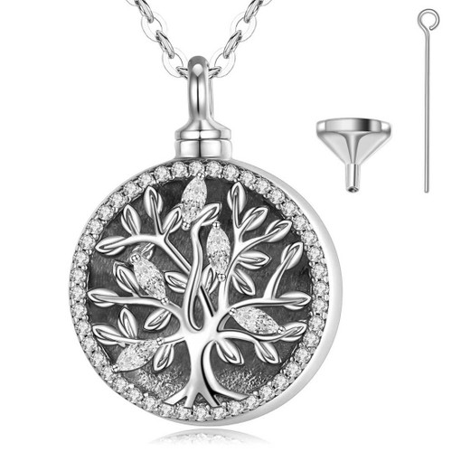 Sterling Silver Tree Of Life with Forever in my Heart Urn Necklace Style two