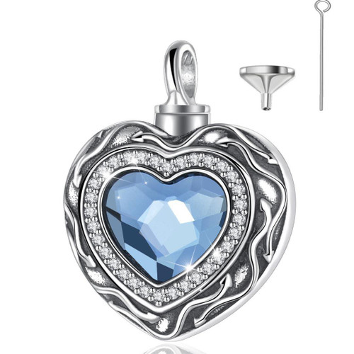 Sterling Silver Blue Stone Heart Urn Necklace