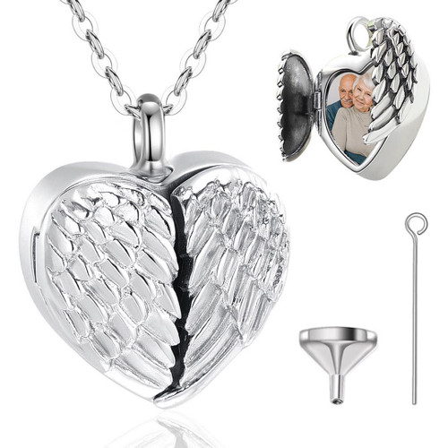 Sterling Silver Heart Urn Necklace with place for picture