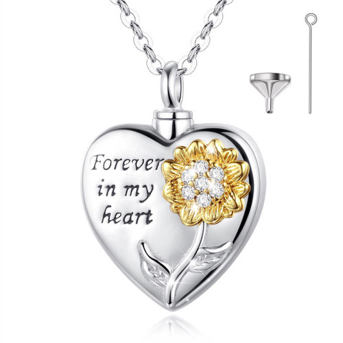 Sterling Silver Heart Urn Necklace with Forever in my heart flower